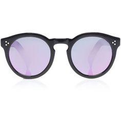 Illesteva Leonard II Black ($290) ❤ liked on Polyvore featuring accessories, eyewear, sunglasses, glasses, peacoat, plastic glasses, illesteva glasses, black glasses, mirrored glasses and mirrored sunglasses