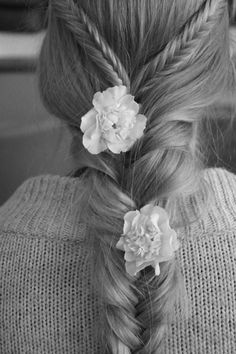 braids in braids. With some sweet blossoms