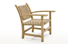 Torres Clavé armchair combines oak structure and knitted string, designed at decade for the Pavillion of the Spanish Republic at the Exposition in Sofa Furniture, Outdoor Furniture, Ottoman, Wooden Armchair, Lounge, Outdoor Chairs, Outdoor Decor, Stackable Chairs, Make Design