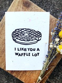 Husband Card  Waffle Pun  Funny Card  Valentines Day Card
