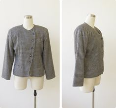 1980s vintage hounds tooth jacket Large, bw plaid cropped jacket crop blazer L by prvtcollection on Etsy