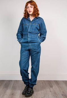 70'S VINTAGE LEE BLUE DENIM JUMPSUIT BOILERSUIT