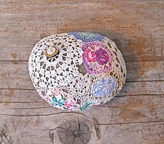 I love the liberty fabric patches! Crochet Stone, Love Crochet, Knit Crochet, Crochet Quilt, Yarn Bombing, Creation Couture, Fabric Patch, Rock Crafts, Crochet Accessories