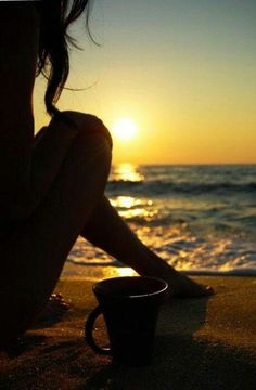 wake up to a beautiful warm morning, watching the sunrise on the beach with a nice hot coffee in hand! Serenity, Summertime, Surfing, Waves, In This Moment, World, Pictures, Outdoor, Coffee Time