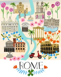 Rome by Anisa Makhoul Italy Illustration, Travel Illustration, Map Illustrations, Rome Travel, Travel Maps, Vintage Maps, Vintage Travel Posters, Rome Map, Voyage Rome