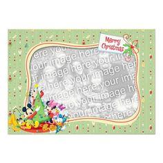 Light Green Mickey & Friends: Merry Christmas Card Invite