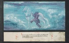 """Folio 126: """"In the year 1533 a horse in the air was seen in Bohemia, and a horseman, as if he wanted to mount it, just as is painted here"""" Augsburger Wunderzeichenbuch, c. 1550"""