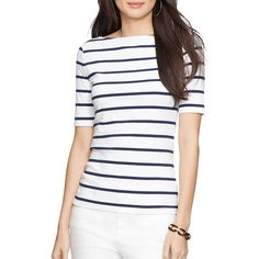 Lauren Ralph Lauren Striped Tee featuring polyvore, women's fashion, clothing, tops, t-shirts, white t shirt, white tee, ralph lauren t shirts, stripe tee and stripe boatneck tee