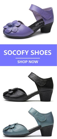 d670bddf087 Socofy SOCOFY Flower Block Hoop Loop Soft Leather Sandals is comfortable to  wear. Shop on NewChic to see other cheap women sandals on sale.