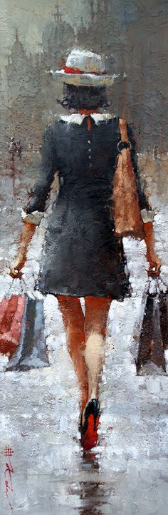 """Sprinkles in Milan""  36"" x 12"" Oil by Andre Kohn Available at Andre Kohn Fine Art Gallery:  www.andrekohnfineart.com"