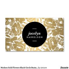 As seen on http://instagram.com/1201am.designs - Our Modern Gold Flowers Black Circle Business Card Template is fully customizable and works for a variety of stylish industries.
