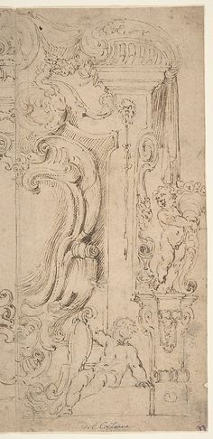 Design of a Cartouche in Half Decorated Frame with Statues and Volutes.