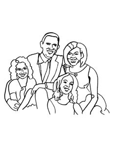 President Barack Obama Coloring Page and Quilt Block Pattern