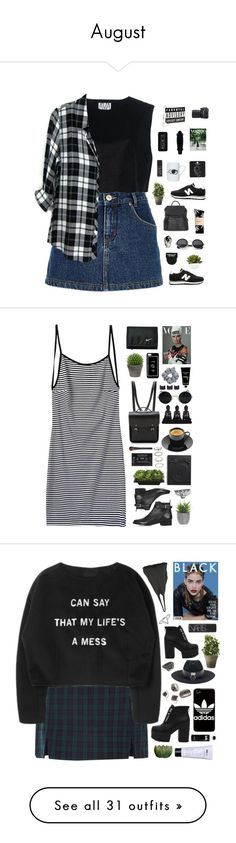 """""""August"""" by amy-lopez-cxxi ❤ liked on Polyvore featuring River Island, New Balance, Ava Catherside, Street Level, Nikon, HUF, Topshop, DOMESTIC, NARS Cosmetics and Rails"""