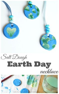 Salt Dough Earth Day Necklace Craft - Make, bake and paint a planet Earth pendant this Earth Day. Use our simple salt dough recipe and complete necklace making tutorial. | Earth Day for Kids | Earth Day Craft | Planet Earth Craft |