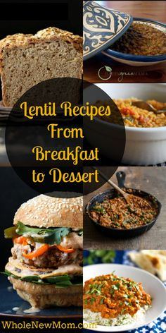 Lentil Recipes Galore – From Breakfast to Dessert! Frugal ways to use the nutrition from lentils in every meal of the day - lots of gluten-free, dairy-free, egg-free, and sugar-free recipes! Bean Recipes, Veggie Recipes, Lunch Recipes, Whole Food Recipes, Breakfast Recipes, Vegetarian Recipes, Dinner Recipes, Cooking Recipes, Healthy Recipes