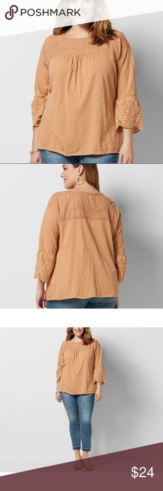 NWT Sonoma boho peasant top Fun and feminine, this women's SONOMA Goods for Life sets your casual style apart from the rest.  PRODUCT FEATURES •Mesh embroidered yoke  •Crewneck •3/4-length raglan sleeves •Soft jersey construction FABRIC & CARE •Cotton  •Machine wash Sonoma Tops