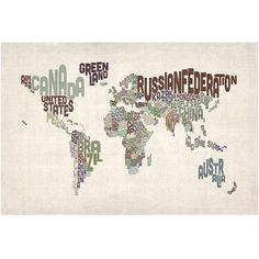 Trademark Art World Text Map II Canvas Art by Michael Tompsett, Size: 22 x 32, Multicolor