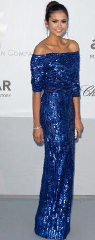 nina dobrev in an electric blue elie saab gown