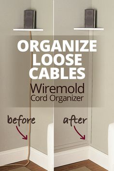The Wiremold CornerMate Cord Organizer lets you hide and organize loose cables by running them along a corner of your room — perfect for concealing the speaker wire connected to wall-mounted speakers… Hide Tv Wires, Hiding Tv Cords On Wall, Hide Cable Cords, Hiding Speaker Wires, Hide Cables On Wall, Hiding Wires Mounted Tv, Hide Electrical Cords, Hide Cable Box, Home Renovation