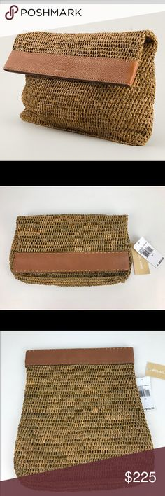 """Michael Kors Santorini Leather & Raffia Clutch Authentic. New, with Tags.  Rare and collectible. Michael Kors raffia clutch with leather-trim top. Magnetic Snap Top. Fold-over front. 8""""H x 13.5""""W x 0.5""""D  Thank you for your interest!  PLEASE - NO TRADES / NO LOW BALL OFFERS / NO OFFERS IN COMMENTS - USE THE OFFER LINK :-) Michael Kors Bags Clutches & Wristlets"""
