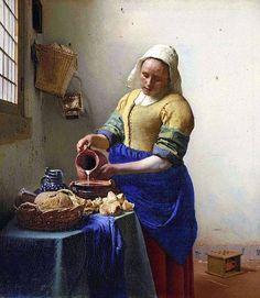 """""""Leitura"""", cenas do cotidiano, 1658-1660 Vermeer  Está pintura foi analisada por meus colegas, criaram uma história e apresentaram a sala. Johannes Vermeer, Caravaggio, The Milkmaid Vermeer, National Gallery Of Art, Art Gallery, Online Gallery, Painting Frames, Painting Prints, Art Print"""