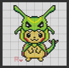Hama Beads Pokemon, Diy Perler Beads, Perler Bead Art, Beaded Cross Stitch, Cross Stitch Embroidery, Cross Stitch Patterns, Pixel Pattern, Pattern Art, Art Pikachu