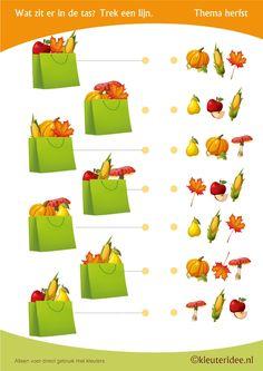 Wat zit er in de tas , thema herfst voor kleuters, juf Petra van kleuteridee, Preschool autumn bag, free printable.