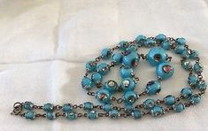 Vintage Turquoise Peacock Eye Foiled Glass Bead Necklace Venetian Murano Glass