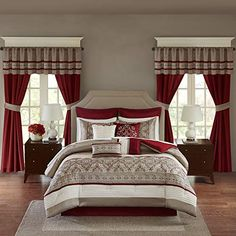 Madison Park Essentials Jelena Room in A Bag Faux Silk Comforter Classic Luxe All Season Down Alternative Bed Set with Bedskirt, Matching Curtains, Decorative Pillows, Cal King, Red, Price: (as of - Details) The faux silk bed in a bag comforter set features multi-color piecing and decorative embroidery creating a rich look in your ...,... Room In A Bag, Bed In A Bag, King Comforter, Comforter Sets, Navy Comforter, Red Bedding Sets, Peach Bedding, Khadra, Online Bedding Stores