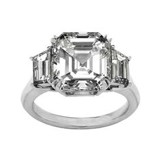 Engagement Ring - Asscher Diamond Engagement Ring with Trapezoid Diamond side stones 0.45 tcw. Like Vanessa Minnillo's in 14K White Gold - ES1 (1,730 CAD) found on Polyvore