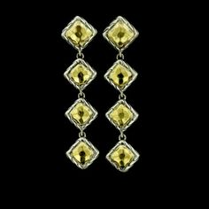These John Hardy earrings consist of four square drops with 22K yellow gold centers and braided edges.