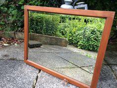 Antique mirror vintage bevelled mirror wooden by RusticOneOffs