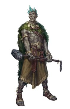 Male Stone Giant Leader Druid - Pathfinder PFRPG DND D&D 3.5 5th ed d20 fantasy