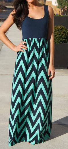 Navy & Mint Chevron Maxi Dress | Women's Fashion