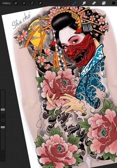 Japanese Tattoo Symbols, Japanese Tattoo Art, Japanese Tattoo Designs, Geisha Tattoo Design, Japan Tattoo Design, Full Back Tattoos, Geisha Art, Traditional Japanese Tattoos, Samurai Tattoo