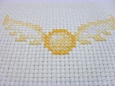 FIBERARTSY/craftsy: Stitching the sadness away.....Harry Potter cross stitch, Golden Snitch