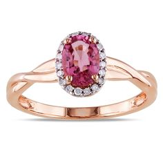Miadora 10k Gold Tourmaline and 1/10ct TDW Diamond Ring (G-H, I1-I2) | Overstock.com Shopping - The Best Deals on Gemstone Rings