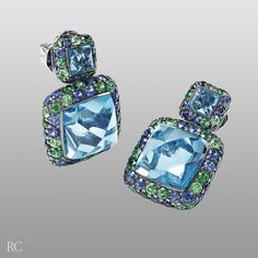 Fantasia earrings. Earrings in white gold with blue sapphires, blue topaz and green garnet - Roberto Coin