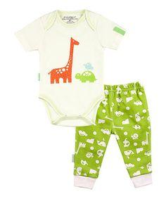 Look at this #zulilyfind! White Giraffe Organic Bodysuit & Green Animal Pants - Infant #zulilyfinds