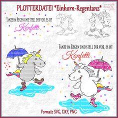 Plotterdatei Einhorn Regentanz Tanze im Regen Konfetti
