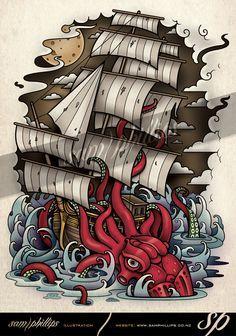 Kraken Vs Ship Tattoo Design by Sam Phillips. www.samphillips.co.nz