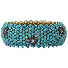 1960s Wide Turquoise Sapphire  Diamond Gold Bombe Bracelet | From a unique collection of vintage link bracelets at https://www.1stdibs.com/jewelry/bracelets/link-bracelets/