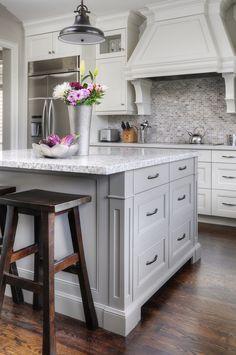 Grey kitchens, white cabinets, grey kitchen cabinets, kitchen reno, g Grey Kitchen Island, Grey Kitchen Cabinets, Kitchen Cabinet Design, Kitchen Redo, New Kitchen, White Cabinets, Gray Island, Granite Kitchen, Kitchen Ideas
