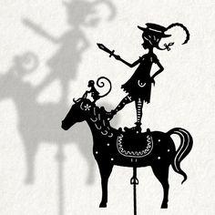 Pippi Longstocking / Laser cut Shadow Puppet op Etsy, 11,59€