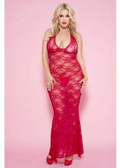Plus Size Red Long Lace Halter Gown - Spicy Lingerie offers the best selection of lingerie, swimwear, costumes & more at the lowest prices. Shop now! Plus Lingerie, Women Lingerie, Dress Sites, Elegant Dresses, Formal Dresses, Plus Size Gowns, Halter Gown, Lace Nightgown, Motif Floral