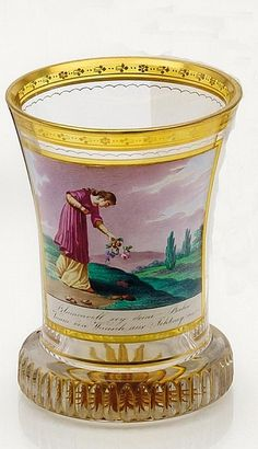 Ranftbecher.Anton Kothgasser Vienna c. 1820 Ground clear glass, partially glazed yellow, colored painted