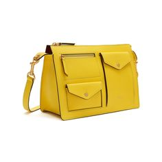 Shop the Cherwell Satchel in Lemon Shiny Lamb Leather at Mulberry.com. The Cherwell draws on the collection's theme of utility, with an array of pockets and a zip compartment overlaying the bag's surface. Featuring a top zip in hardware brass, it opens up to a suede interior, equipped with a slip pocket. The Cherwell Satchel, just like its Square-version, is a modern take on traditional British lunch boxes.