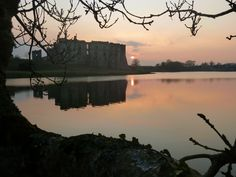 Sunset at Carew Castle Emerald Isle, Castle, River, Sunset, Outdoor, Outdoors, Castles, Sunsets, Outdoor Games
