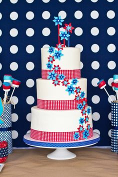 Looking for patriotic party decorating ideas? This star-spangled cake is sure to be the centerpiece of your 4th of July party. It's red, white, and blue decorations may shine even brighter than the fireworks!